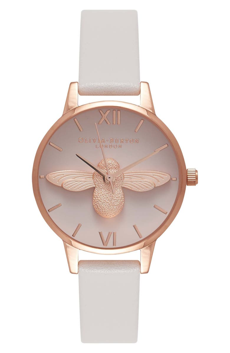 OLIVIA BURTON Molded Bee Leather Strap Watch, 30mm, Main, color, WHITE/ GREY/ PINK
