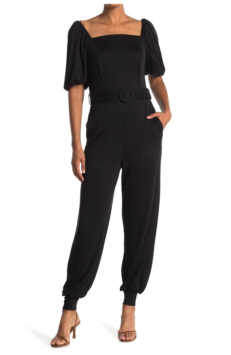 ONE ONE SIX Puff Sleeve Belted Jogger Jumpsuit, Main, color, BLACK