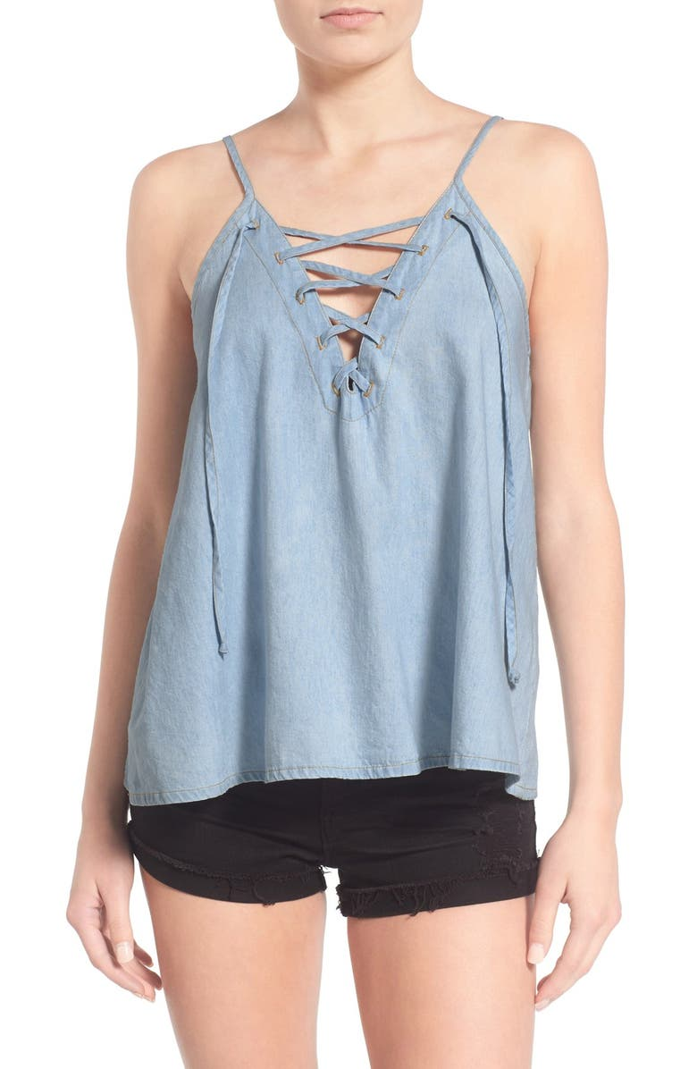MIMI CHICA Lace-Up Chambray Camisole, Main, color, LIGHT WASH