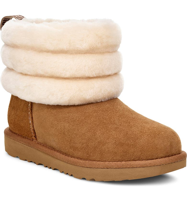 UGG<SUP>®</SUP> Fluff Mini Quilted Boot, Main, color, CHESTNUT