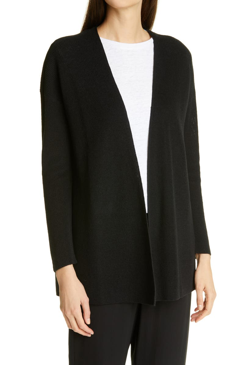 EILEEN FISHER Boxy Open Front Cardigan, Main, color, BLACK