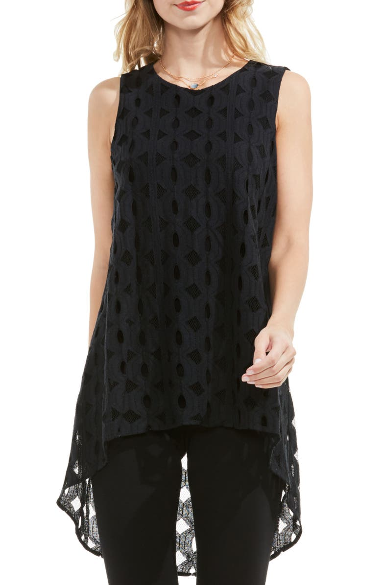 VINCE CAMUTO High/Low Cable Lace Top, Main, color, 006