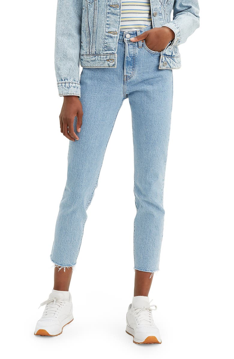 LEVI'S<SUP>®</SUP> Wedgie Icon Fit High Waist Raw Hem Ankle Jeans, Main, color, TANGO TALKS
