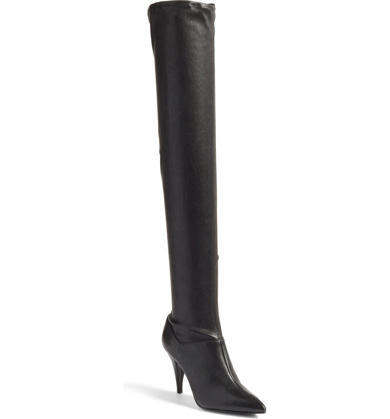 ALICE + OLIVIA 'Casey' Pointy Toe Over the Knee Boot, Main, color, 001