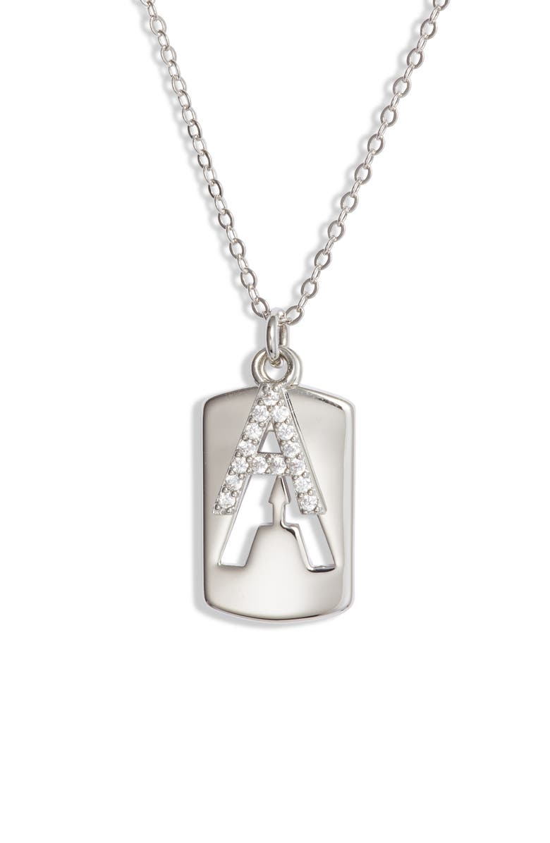 NORDSTROM Initial Dog Tag Pendant Necklace, Main, color, 040