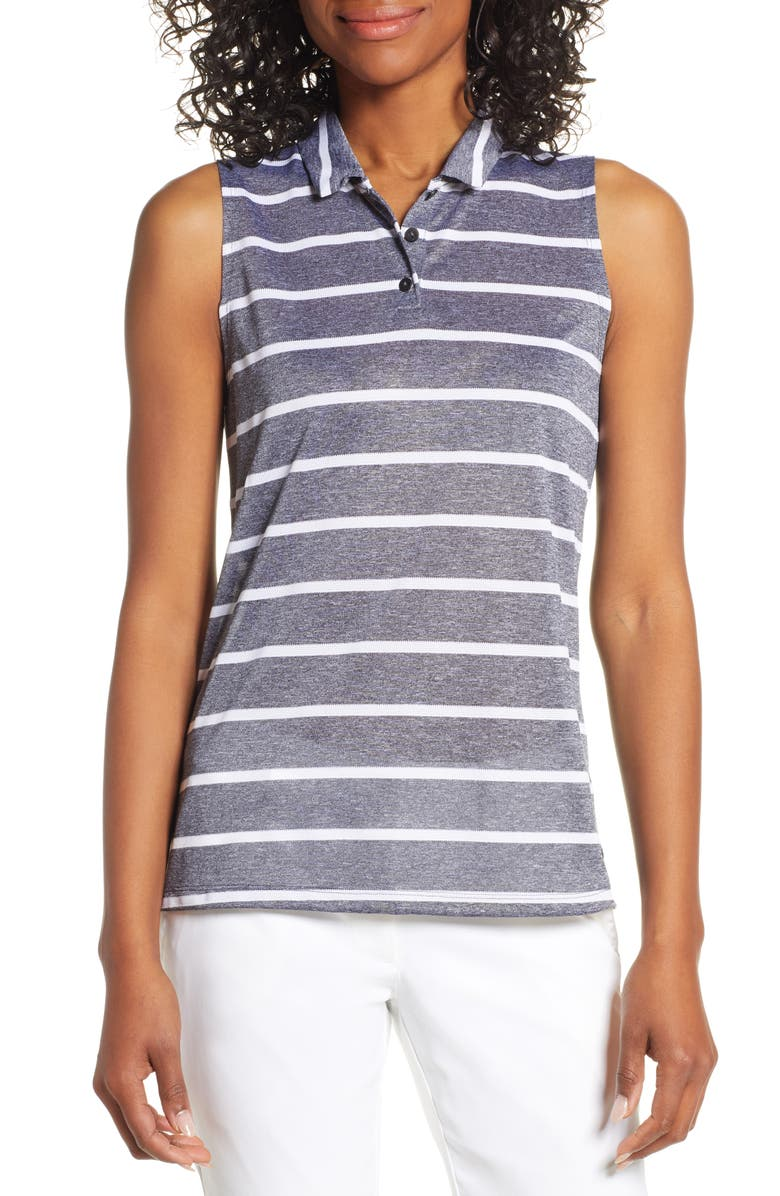 NIKE Dri-FIT Stripe Sleeveless Polo, Main, color, 010