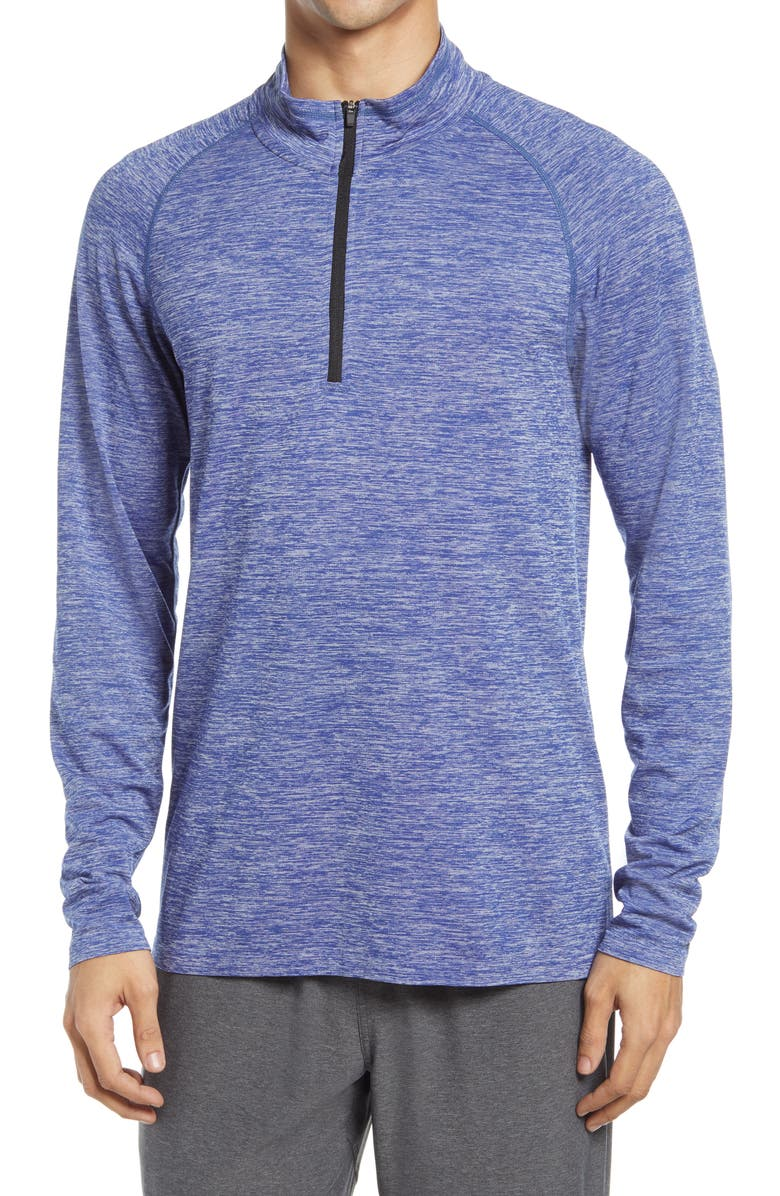 ZELLA Men's Quarter Zip Pullover, Main, color, BLUE ANGELITE MELANGE