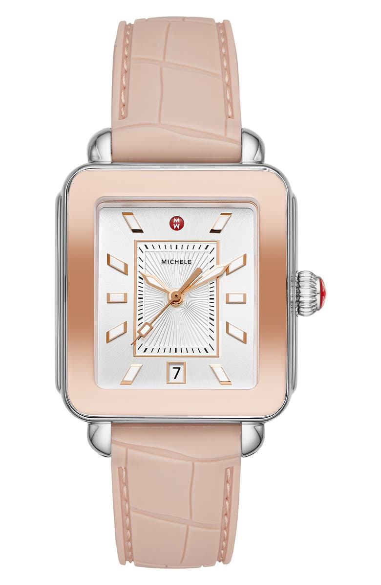 MICHELE Deco Sport Watch Head & Silicone Strap, 34mm x 36mm, Main, color, PINK/ SILVER SUNRAY/ PINK GOLD