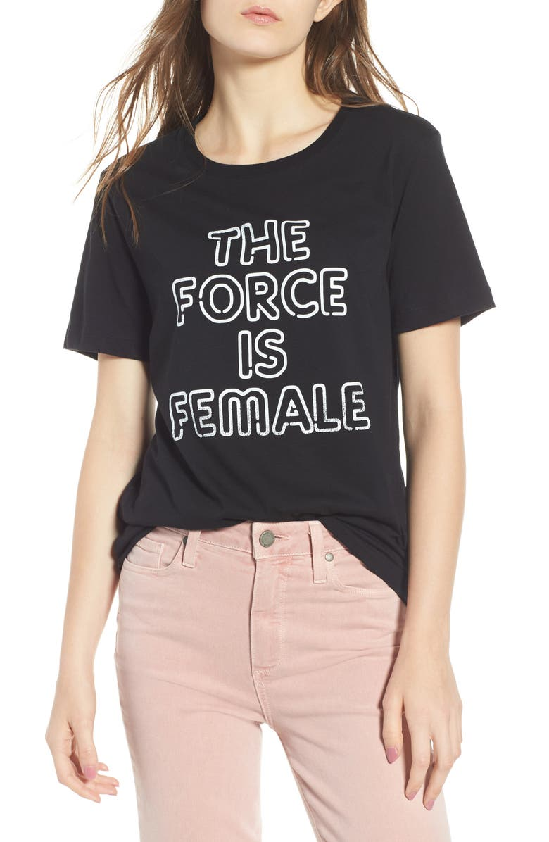 REBECCA MINKOFF The Force Is Female Tee, Main, color, 009