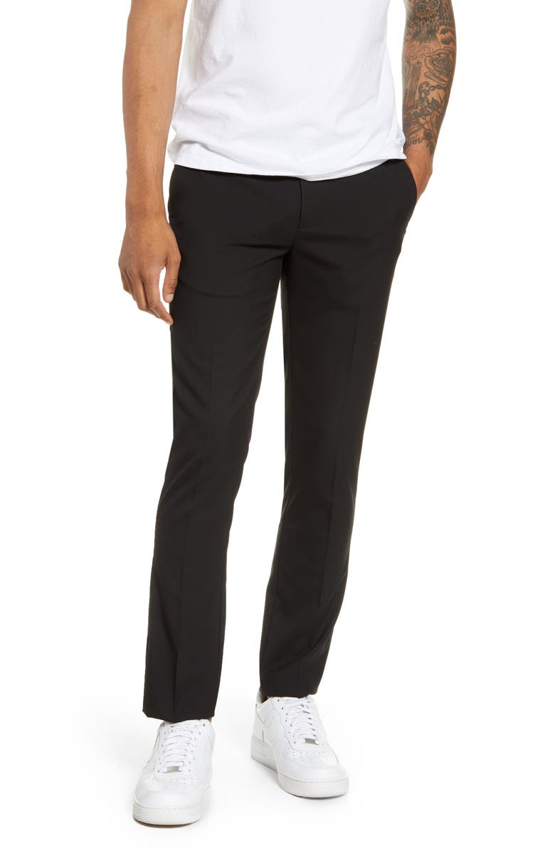TOPMAN Skinny Fit Textured Dress Pants, Main, color, BLACK
