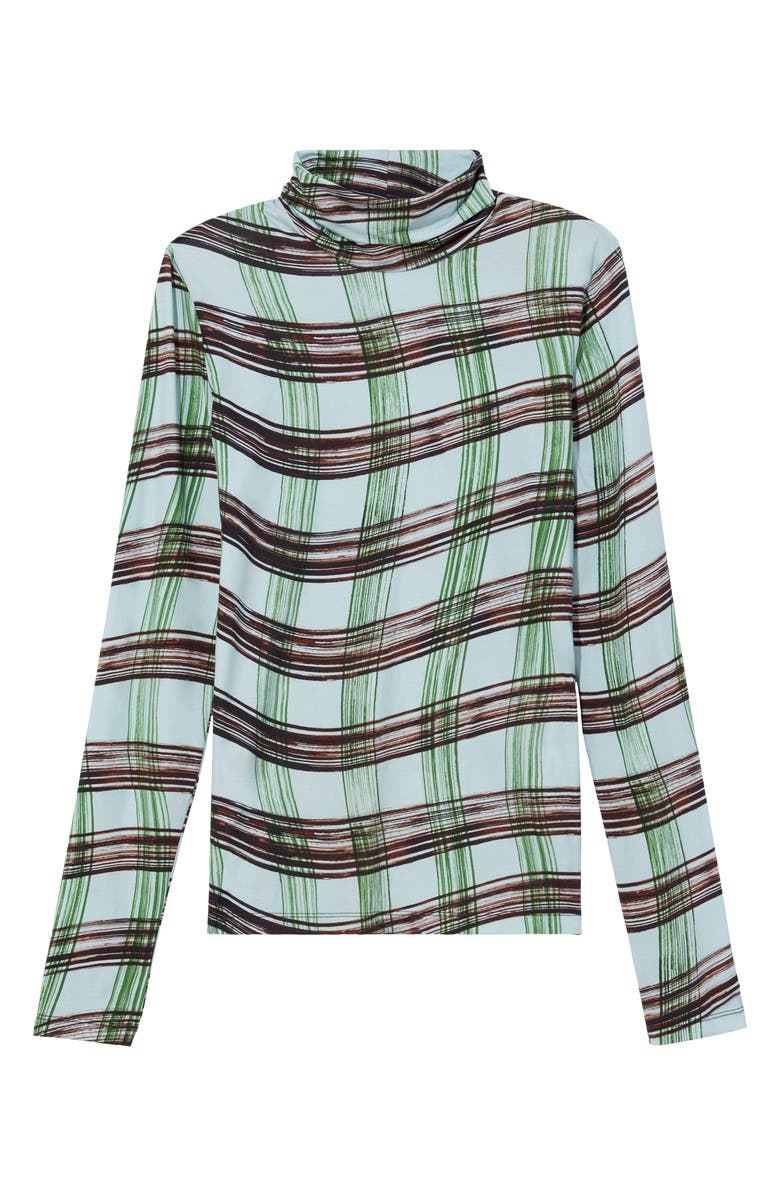 PROENZA SCHOULER WHITE LABEL Plaid Stretch Cotton Jersey Top, Main, color, BABY BLUE/GREEN WAVY PLAID