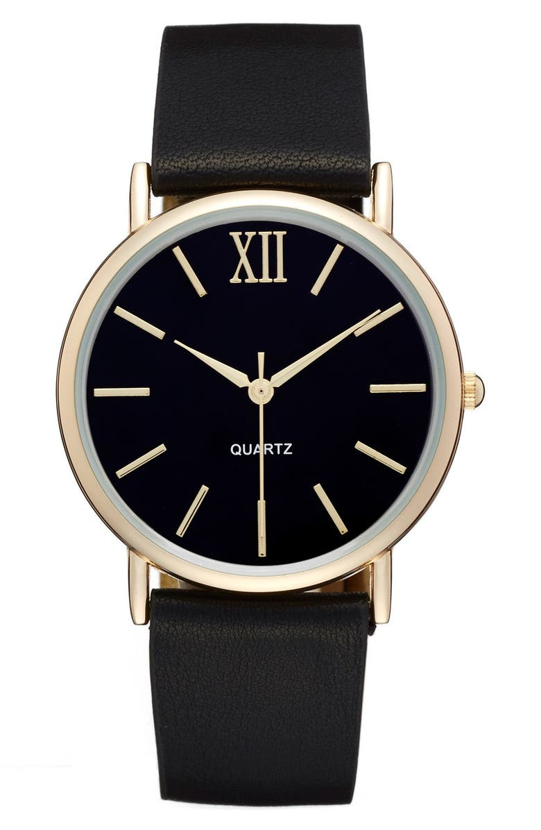 BP. Round Faux Leather Strap Watch, 37mm, Main, color, 001