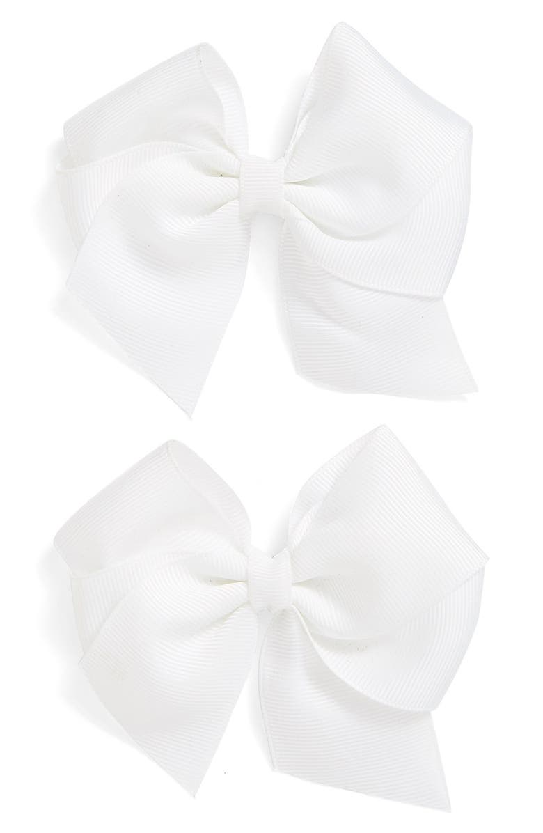 PLH BOWS Bow Clips, Main, color, WHITE