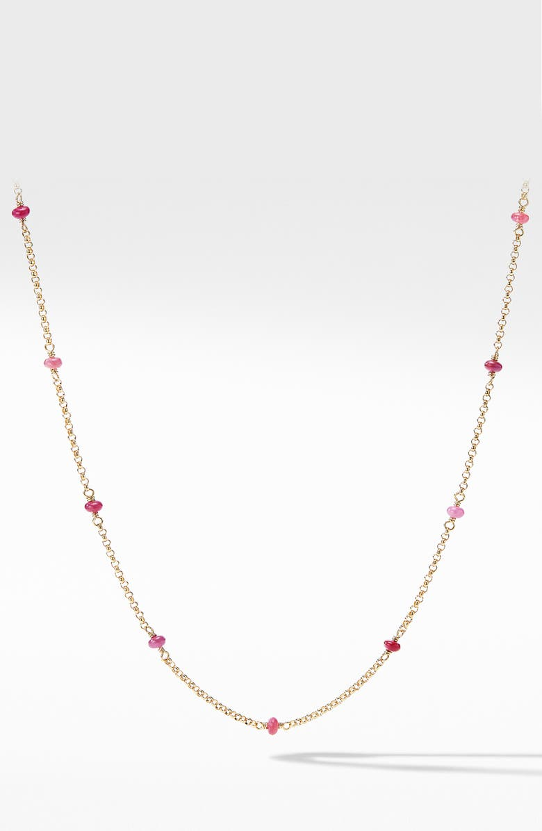 DAVID YURMAN Cable Collectibles<sup>®</sup> Bead & Chain Necklace in 18K Yellow Gold with Rubies, Main, color, 600
