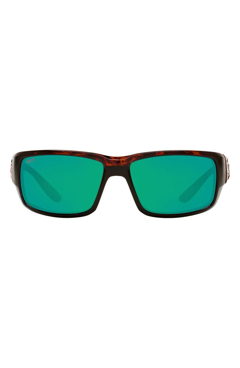COSTA DEL MAR Fantail 59mm Polarized Mirror Rectangular Sunglasses, Main, color, TORTOISE/ GREEN MIRROR