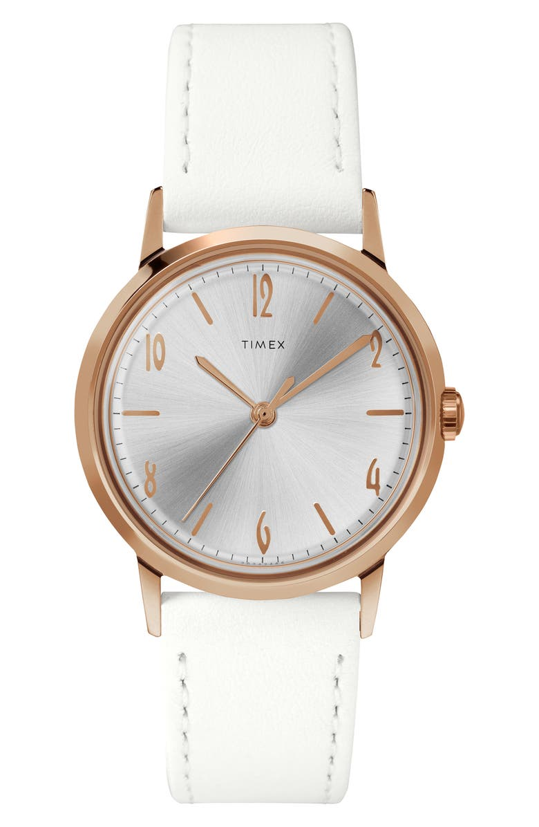 TIMEX<SUP>®</SUP> Marlin Leather Strap Watch, 34mm, Main, color, WHITE/SUNRAY/ ROSE GOLD