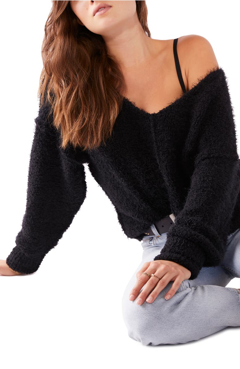 FREE PEOPLE Icing V-Neck Sweater, Main, color, BLACK
