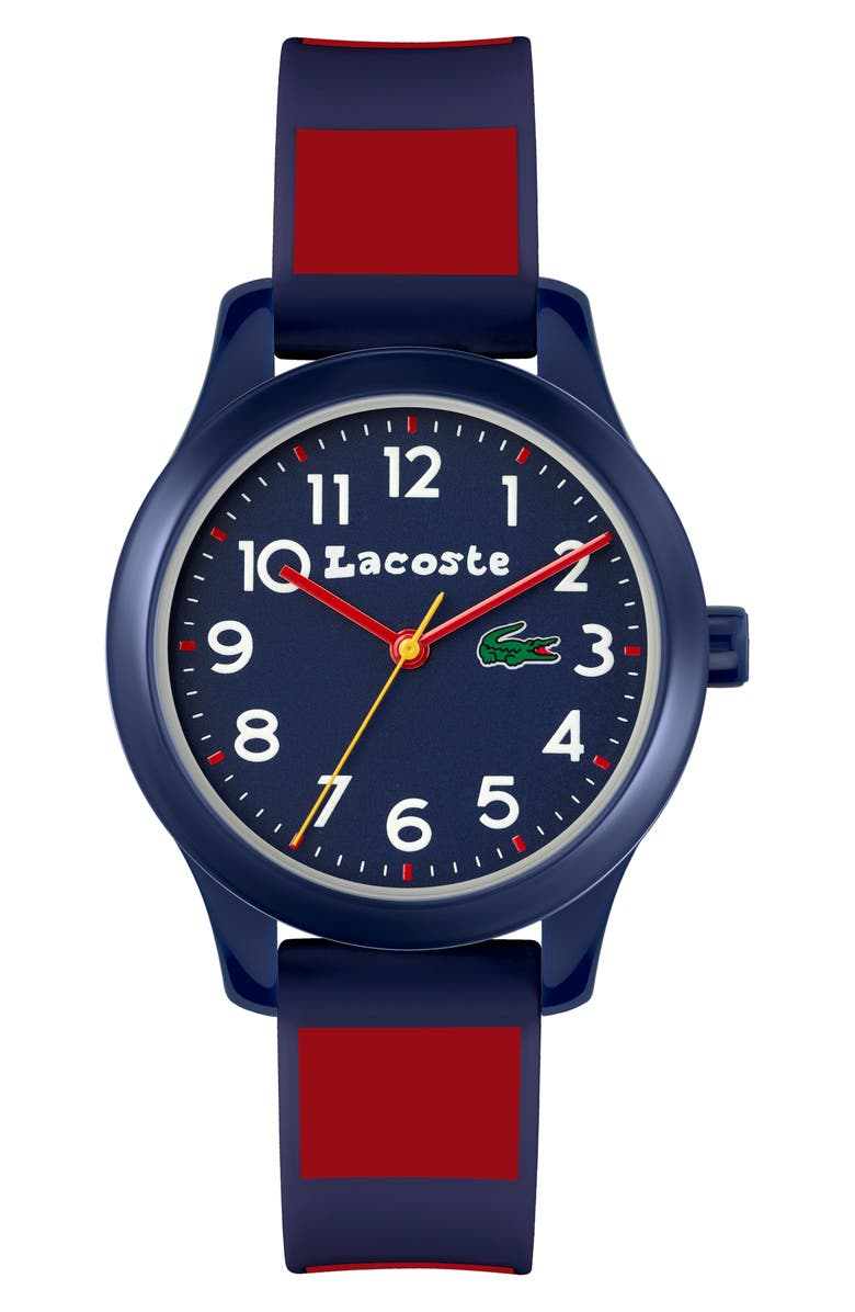 LACOSTE Kids' 12.12 Silicone Strap Watch, 32mm, Main, color, BLUE