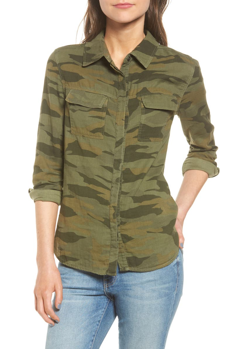 SPLENDID Camo Double Pocket Shirt, Main, color, 309
