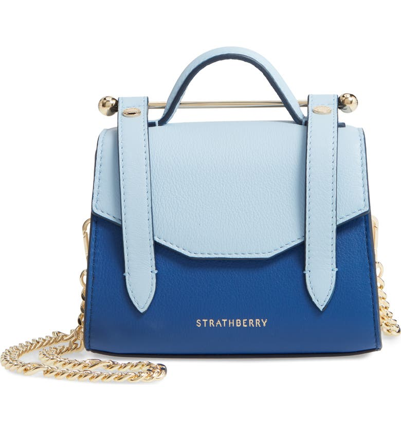 STRATHBERRY Micro Allegro Colorblock Calfskin Leather Tote, Main, color, 400