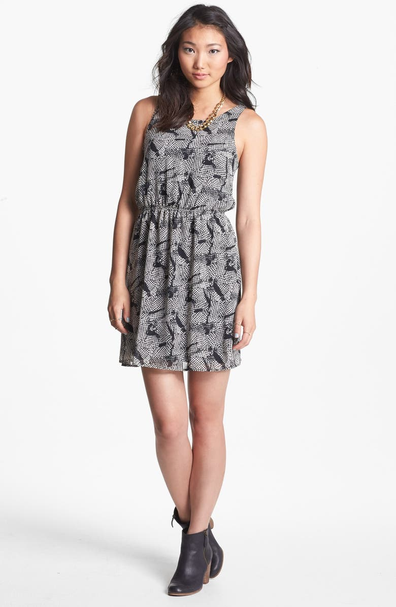 DEE ELLY dee elle Print Zip Back Skater Dress, Main, color, 001