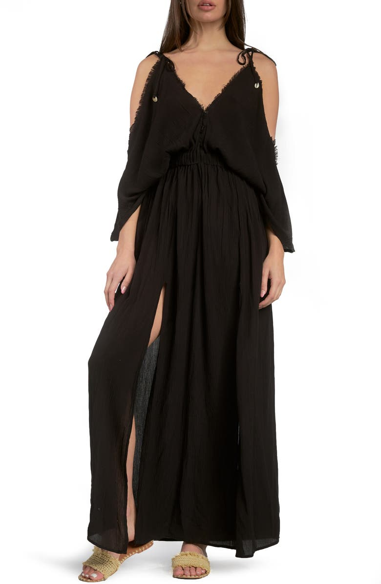 ELAN Butterfly Crinkle Cover-Up Maxi Dress, Main, color, BLACK