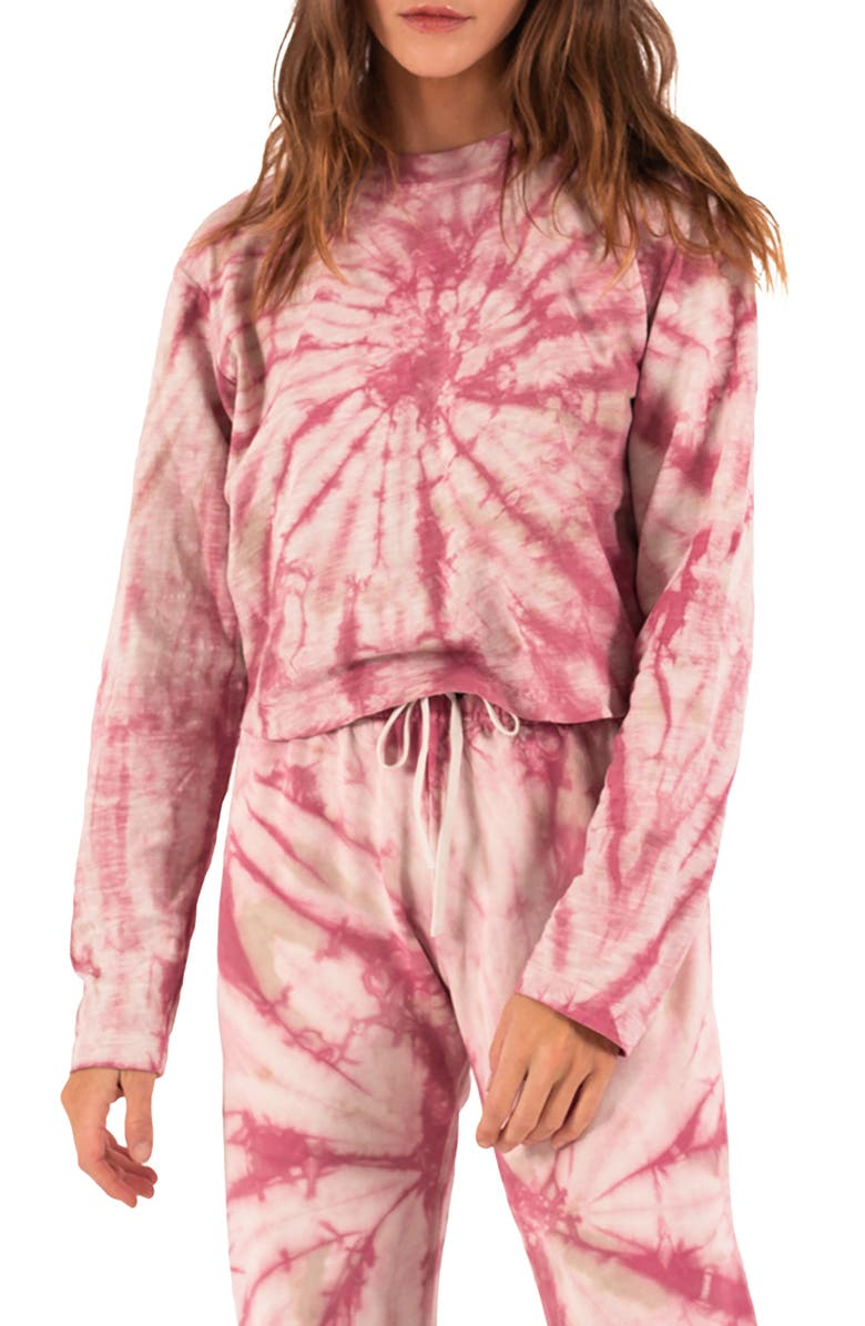 PAM & GELA Tie Dye Long Sleeve T-Shirt, Main, color, ROSE/ TAUPE