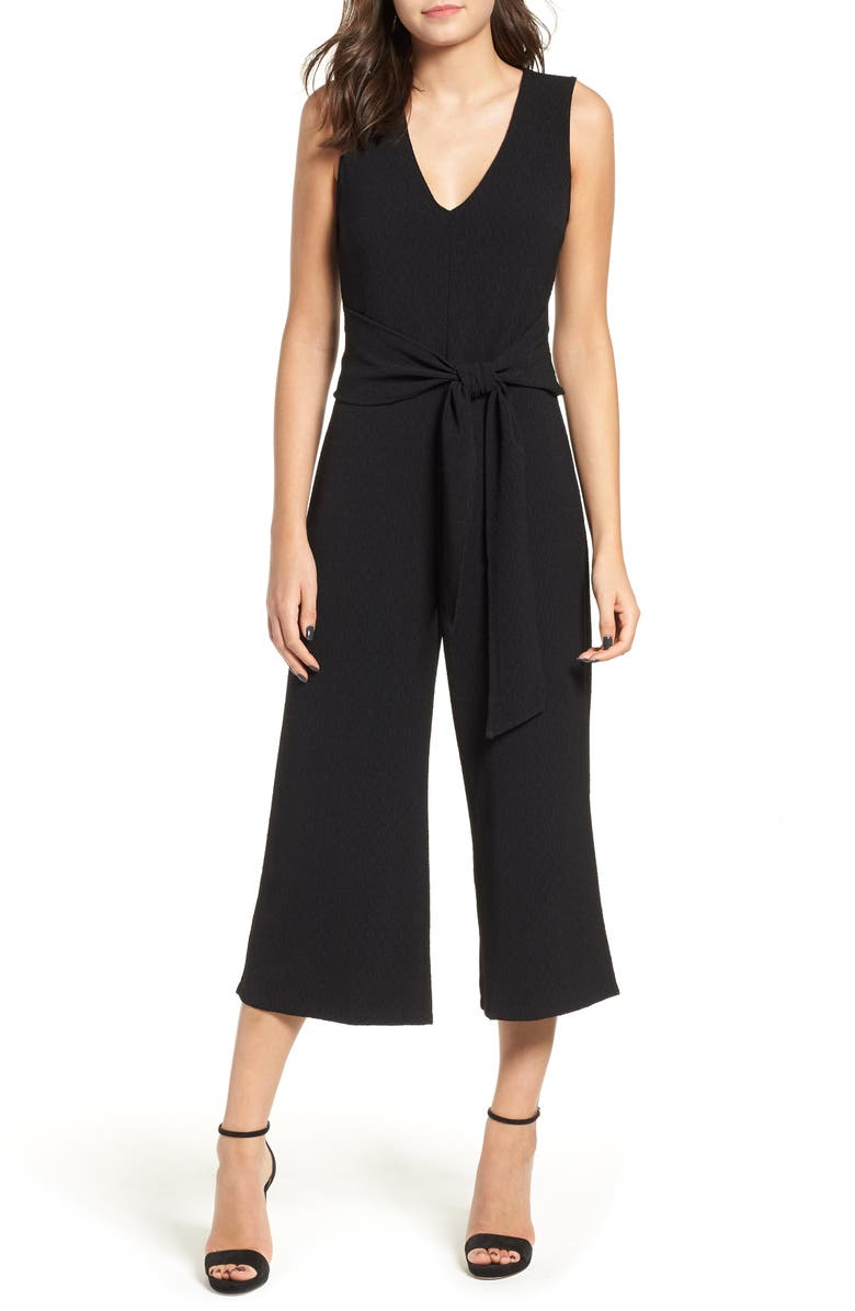 ASTR THE LABEL Tie Waist Crop Jumpsuit, Main, color, 001