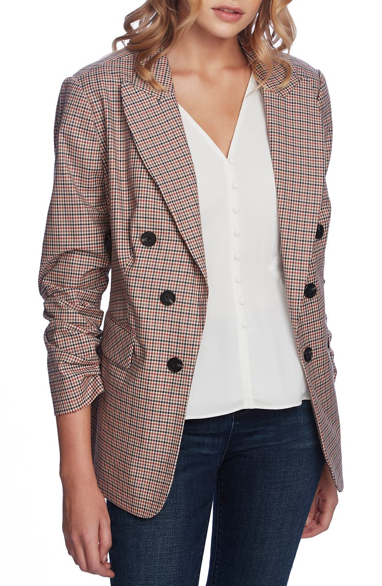1.STATE Minicheck Ruched Sleeve Blazer, Main, color, 214