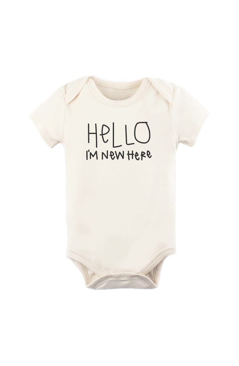 TENTH & PINE Hello, I'm New Here Organic Cotton Bodysuit, Main, color, NATURAL