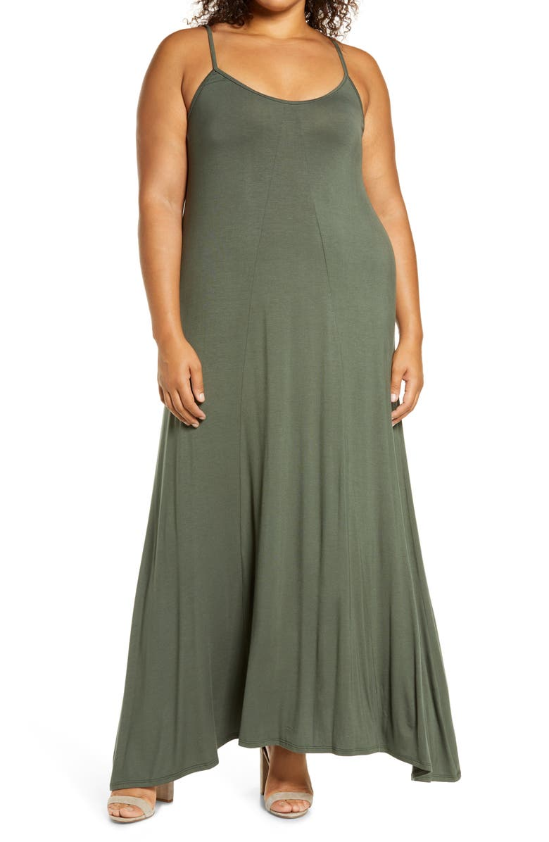 LOVEAPPELLA A-Line Maxi Dress, Main, color, OLIVE