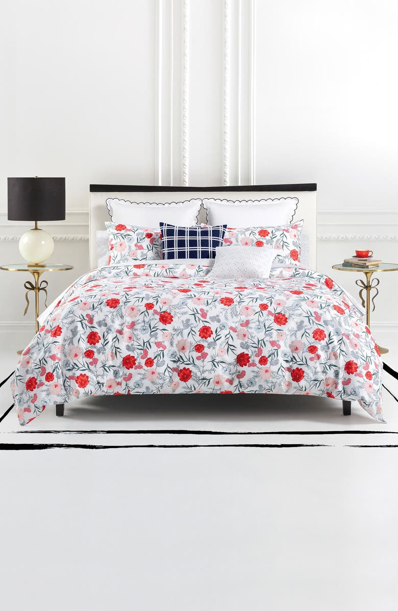 KATE SPADE NEW YORK blossom comforter & sham set, Main, color, 100