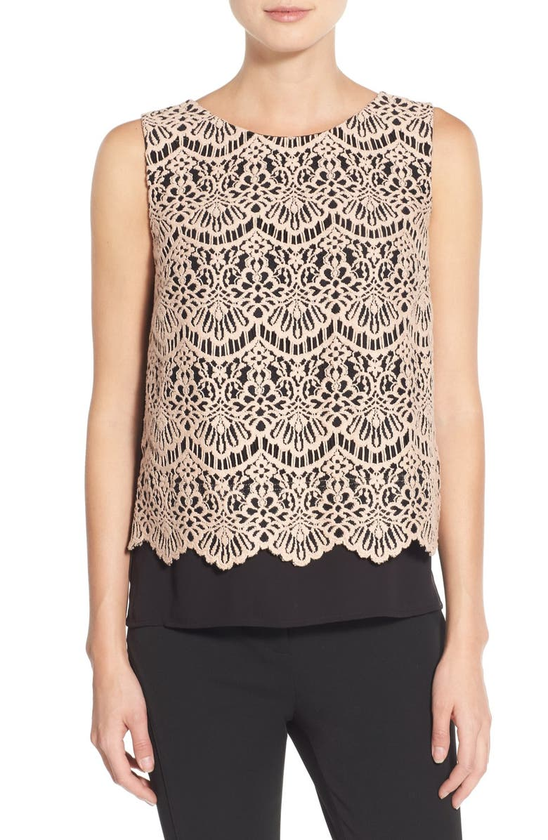 HALOGEN<SUP>®</SUP> Lace Overlay Shell, Main, color, PINK- BLACK LACE