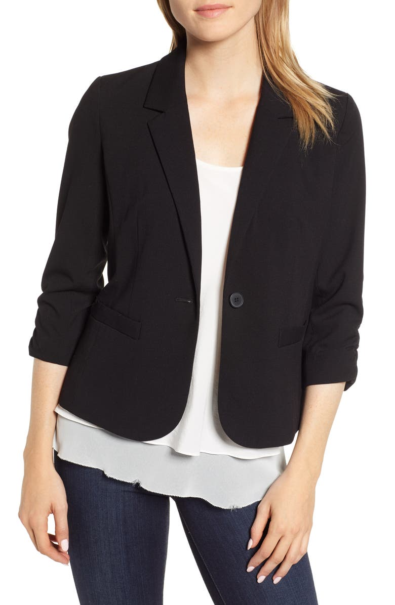 VINCE CAMUTO Ruched Sleeve Blazer, Main, color, RICH BLACK