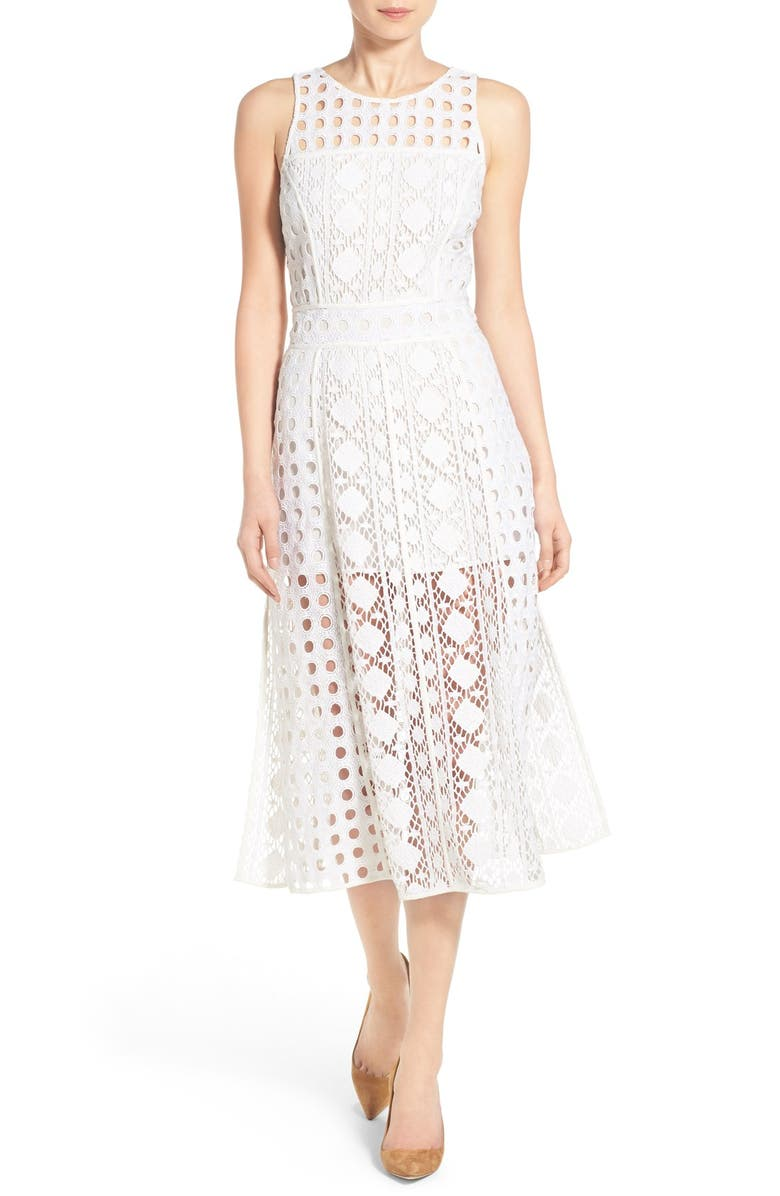 OLIVIA PALERMO + CHELSEA28 Patchwork Lace Midi Dress, Main, color, 100