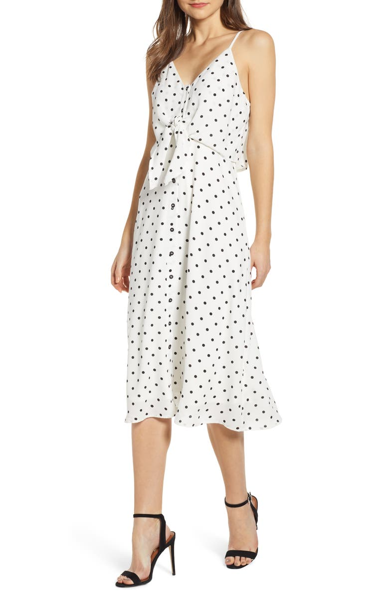 BP. Polka Dot Tie Waist Midi Dresss, Main, color, 001