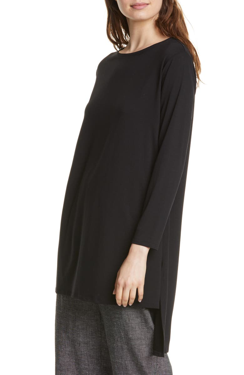 EILEEN FISHER Boxy Stretch Tencel<sup>®</sup> Lyocell Tunic, Main, color, 001