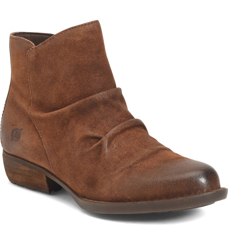 BØRN Falco Ruched Bootie, Main, color, RUST DISTRESSED SUEDE