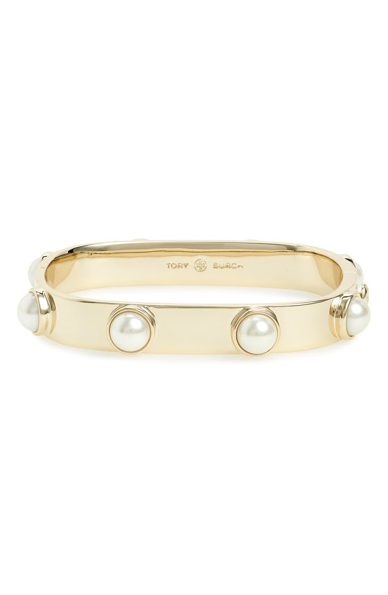 TORY BURCH Stacked Studded Imitation Pearl Bracelet, Main, color, TORY GOLD/ TORY SILVER