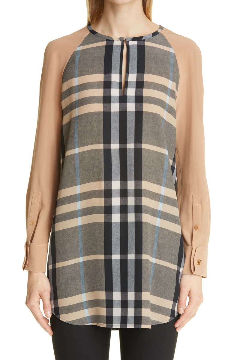 BURBERRY Tamika Check Print Silk Blouse, Main, color, DUSTY SAND CHECK