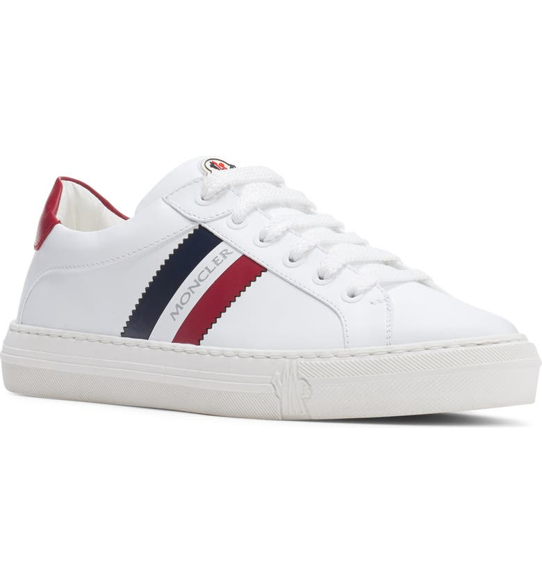 MONCLER Ariel Low Top Sneaker, Main, color, WHITE/ BLUE/ RED