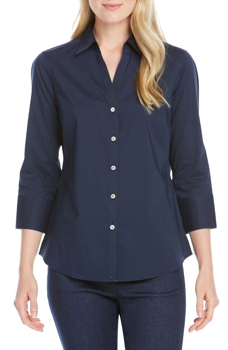 FOXCROFT Mary Button-Up Blouse, Main, color, NAVY