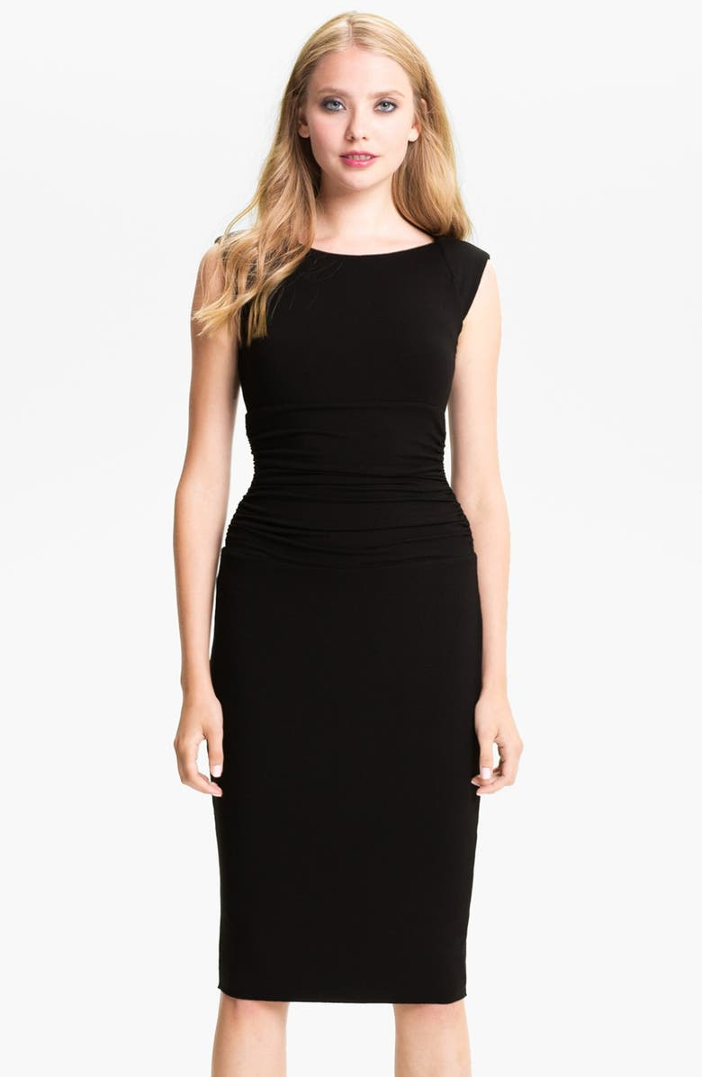 B44 DRESSED BY BAILEY 44 Ruched Cap Sleeve Sheath Dress, Main, color, Black