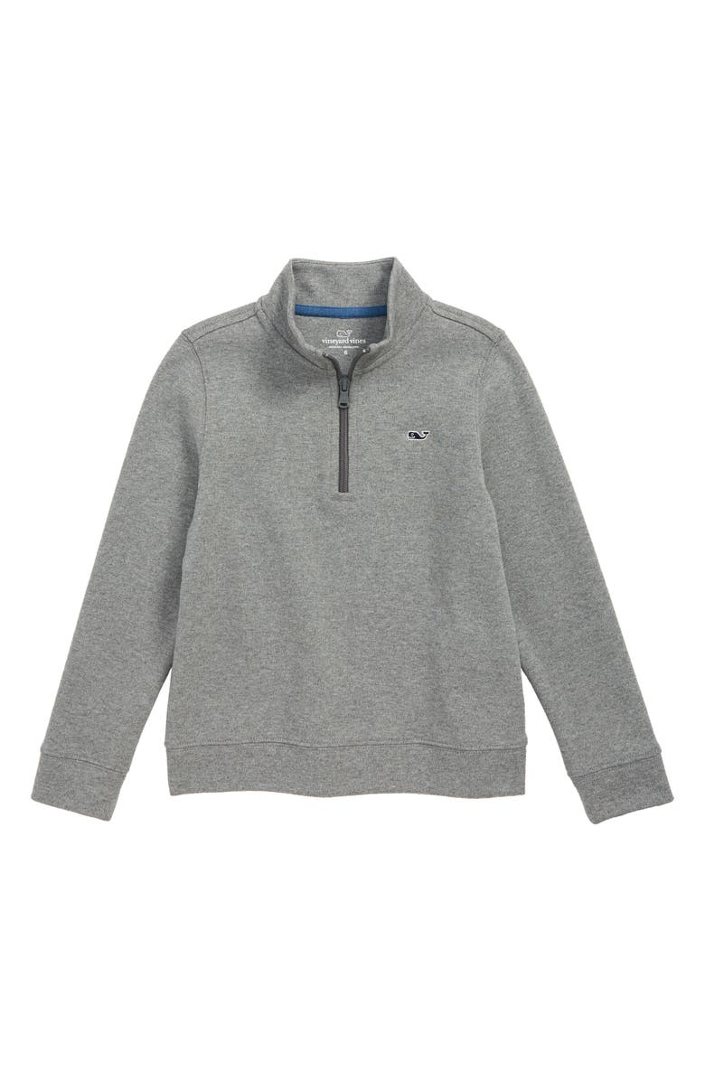 VINEYARD VINES Heathered Half Zip Pullover, Main, color, MEDIUM HEATHER GREY