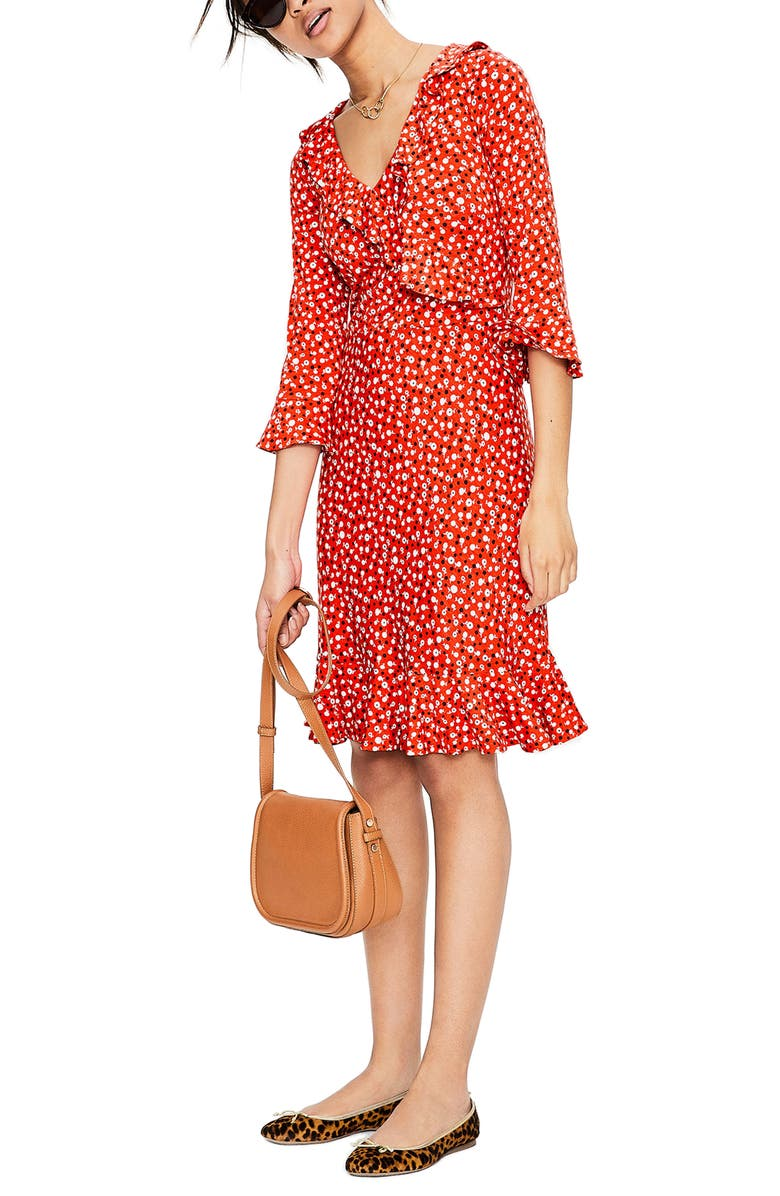 BODEN Fluted Wrap Style Stretch Jersey Dress, Main, color, 614