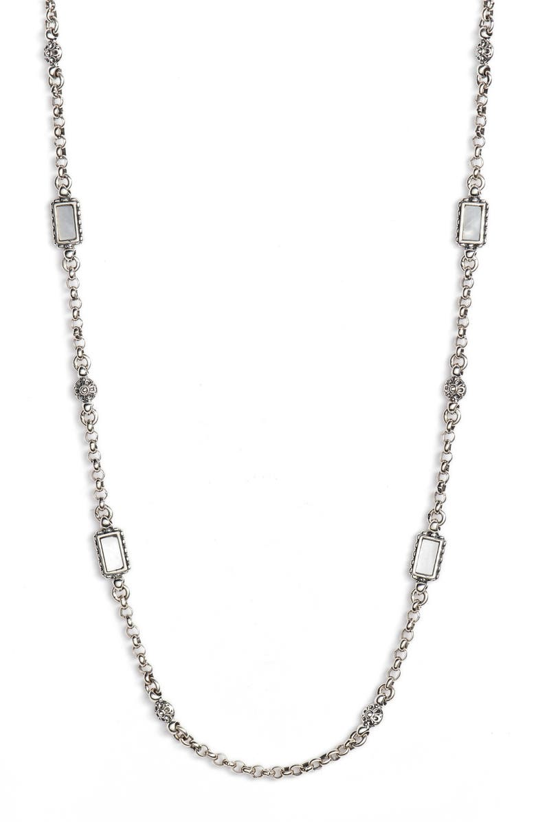 KONSTANTINO Mother-of-Pearl Sterling Necklace, Main, color, SILVER/ GOLD/ WHITE