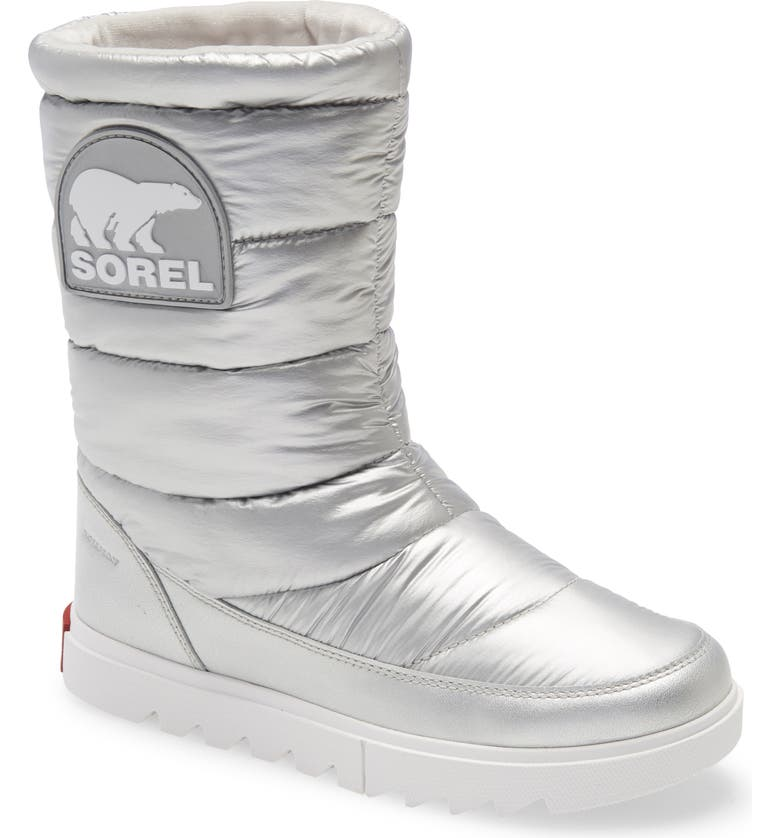 SOREL Joan of Arctic<sup>™</sup> NEXT LITE Waterproof Quilted Boot, Main, color, PURE SILVER