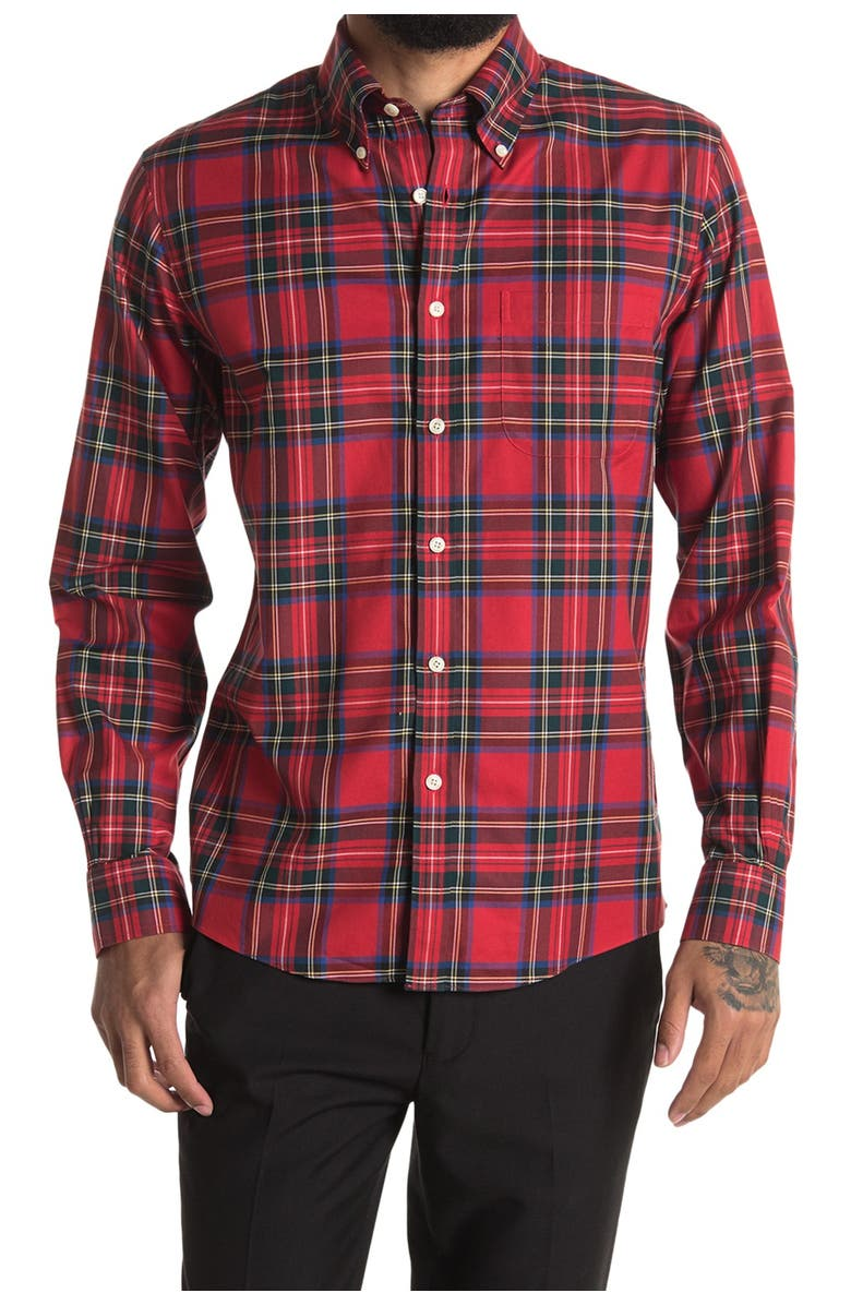 BROOKS BROTHERS Holiday Tartan Plaid Print Regular Fit Shirt, Main, color, OPEN RED