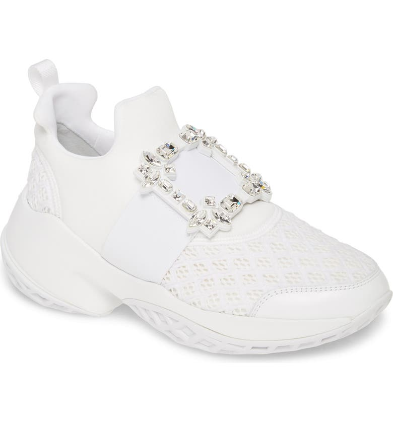 ROGER VIVIER Viv Crystal Buckle Slip-On Sneaker, Main, color, White