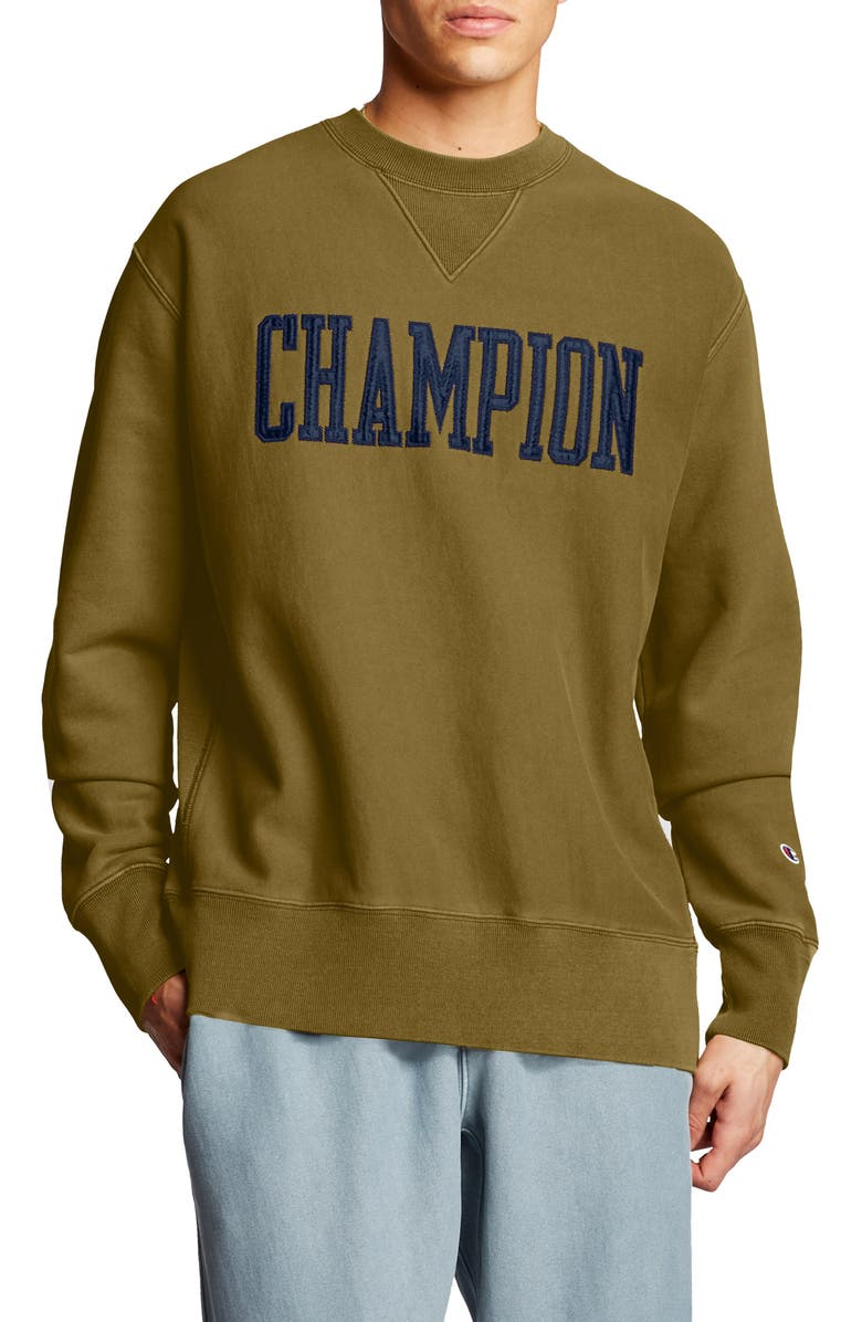 CHAMPION Logo Appliqué Crewneck Sweatshirt, Main, color, 200